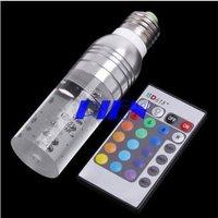 Hot selling ! 3W E27 Crystal RGB LED Light Bulb Spotlight Lamp16 Color changing+Remote Control Free ship 1pcspcs/lot