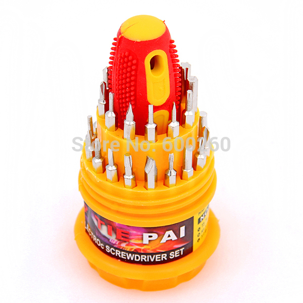 free shipping 31 in 1 Electronic Precise Manual Screw Driver Tool Set CRV BITS #8245(China (Mainland))