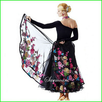 000020 - 2014 New Fashion Embroidered Colorful Flowers Women Ballroom Dancing Dress Dancing Dresses Free Shipping