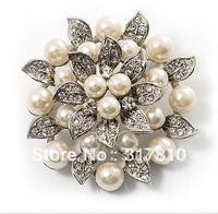 Rhodium Silver Plated Pearl and Rhinestone Crystal Diamante Leaf Flower Wedding Cake Brooch