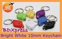 Free Shipping 10MM Mini LED Torch Light Keychain 5pcs/lot