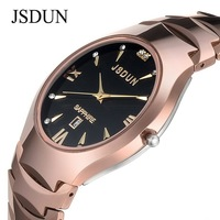 JSDUN Quartz Analog Watch men's luxury wristwatch rose golod pure tungsten steel carbide sapphire 3 ATM water resistant 6003