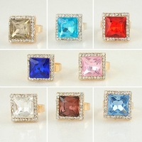 2013 new fashion crystal rings jewellery for women ,adjustable size,24pcs color mix wholesale +free shipping to worldwide