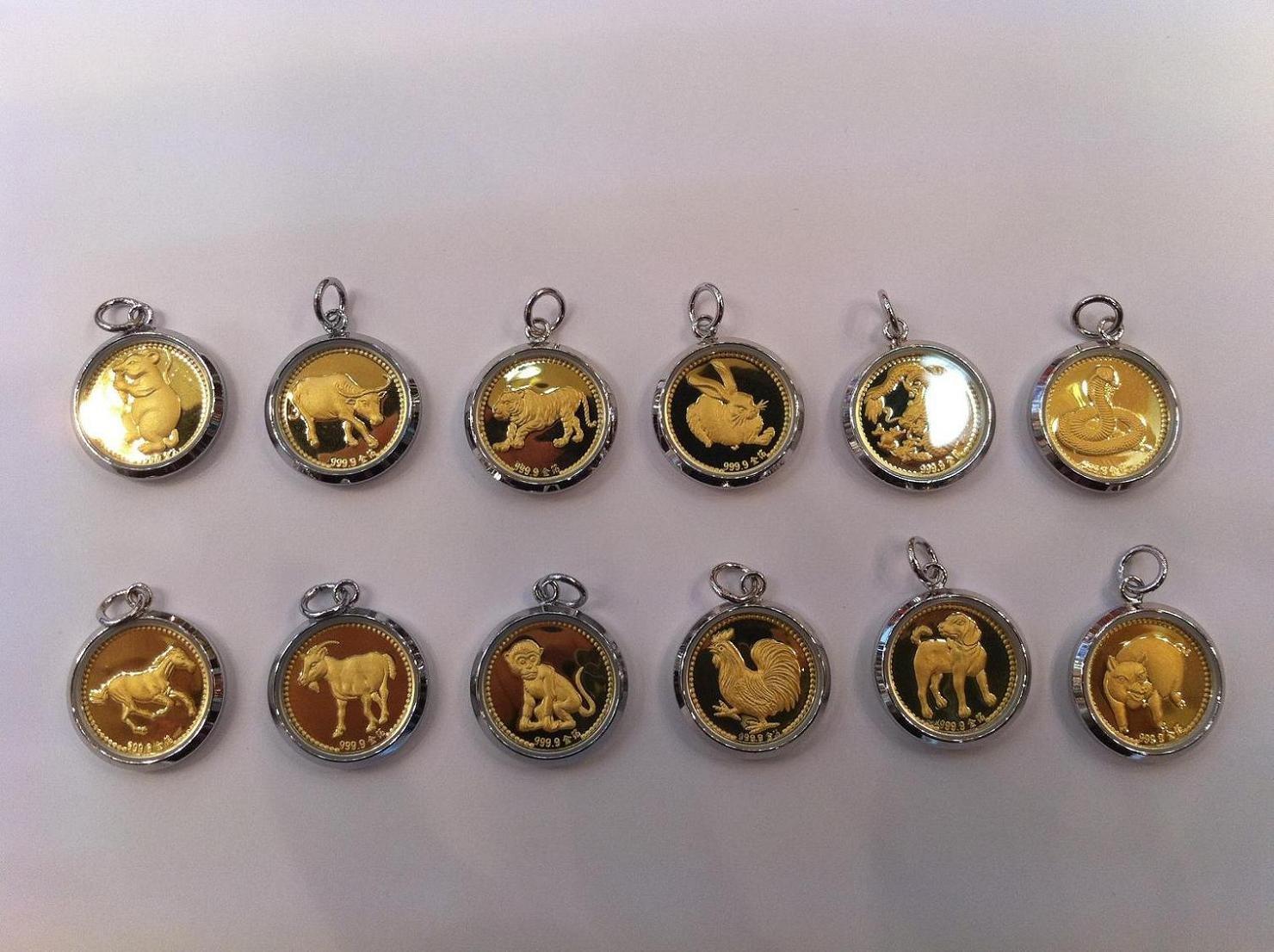 Hong Kong Post Free shipping, wholesale, retail, 1 pc/lot, 12 Chinese Zodiac Gold Plated pendant, rolled gold charms(Hong Kong)