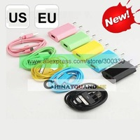 Colorful EU/us wall Charger + colorful sync data Charge Cable for iphone 3gs 4g 4gs  Total 100pcs Free shipping  by dhl