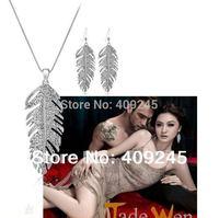 free shipping fashion leaf shaped crystal jewelry set silver