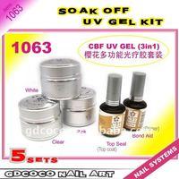 1063#3in1 soak off UV Gel/CBF Gel kit/professional topcoat base cost kits/pink/white/clear