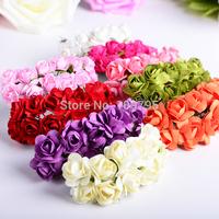 Wholesale 1440 pcs/lot 2CM Head Paper Flower Bouquet Multicolor Mulberry Scrapbooking Artificial Rose
