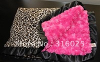 leopard with hot pink swirl and black satin ruffle baby blanket soft minky  blanket+free shipping 30x30 inches
