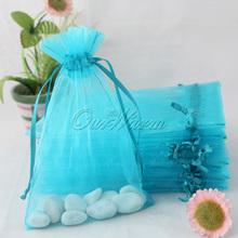 100 Pieces Aqua Blue Turquoise 4 x6 10cm x 15cm Strong Sheer Organza Pouch Wedding Favor