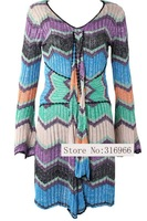 New Arrival Hot Sell Clearance Brand Designer multi-color Striped Sweater Dress Zigzag Print,Wholesale and retail 1359