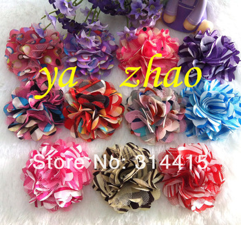 2.5''  Polka dot satin mesh silk  flower,  hair flower Accessories, 300pcs/lot, 15colors in stock, free shipping by EMS!!