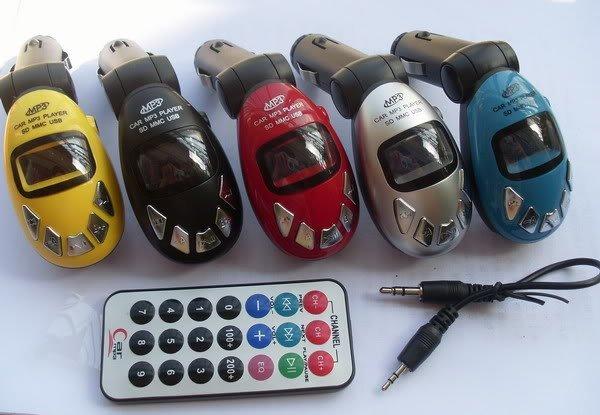 85pcs/lot # Car FM Transmitter For MP3 Player SD MMC Card Slot USB Black Red Blue Free Shipping(China (Mainland))