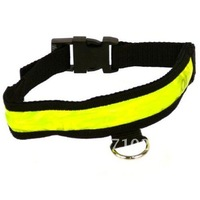 20pcs/lot LED Nylon Pet Dog Safety Flashing Light Up Collar Large Size  Freeshipping