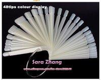 Free Express 48 tips Steel Ring Nail Art Display Chart for Polish Gel Display Tool Natural /Clear Wholesale