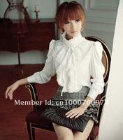 Free shipping 2014 Spring NEW Luxury Victorian Boho Retro White Black Tops Ruffle Fashion Women Shirt Blouse Plus Size