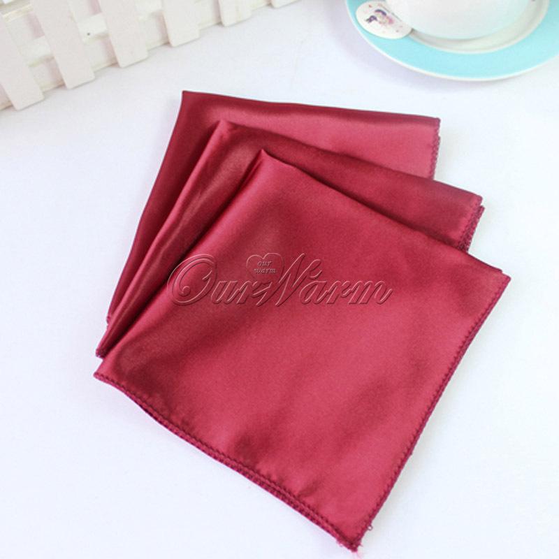 "10 pcs/lot Dark Red Crimson Satin Table Napkin 12"" Square Men Pocket Handkerchief Multi Purpose Wedding Party Decor(China (Mainland))"