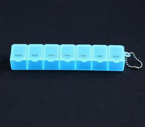 100PCS/LOT 7 Days Pill box organizer Plastic Weekly Pill box container Free Shipping(China (Mainland))