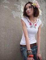 Free Shipping new modern design, chinese folk embroidery t shirt, tshirts cotton/summer t shirts for women OK615ST