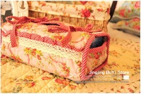 FreeShipping  Pink Flower High-Quality home textile Cotton Fabric Tissue Box/have 10 styles/you can mix