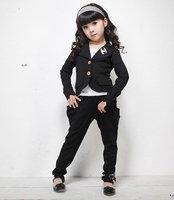 2014 baby girl leisure suits 4 colors clothing set cardigan coat + pants zipper & butterfly cotton sets 4pcs/lot kids clothes