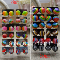 Free Shipping--Fashion Earring Wholesale Cheap Cute Rainbow Design Mixed Candy Colours Resin Ball Stud Earrings,8mm Size,144pair
