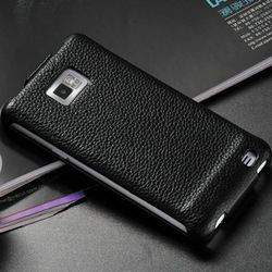 Top Genuine Leather case for samsung galaxy s2 i9100 Flip Luxury Original cover, black red pink brown white , 5 colors(China (Mainland))