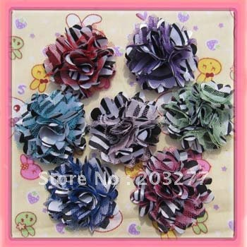 Wholesale -36pcs/lot   7 colors for your choose 2'' zebra Satin mesh silk flowers without hair clip  FreeShipping