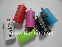200pcs/lot New colorful MINI CAR CHARGER USB ADAPTER FOR  IPHONE 3 4G 4S