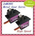 2x MG90S RC Metal Gear high speed Micro Servo Rep SG90+Free shipping