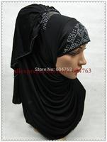 HP018  fashion simple crystal beading arab islamic wear;70cm long MUSLIM HIJAB