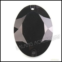 60pcs/lot Wholesale Black Epoxy Resin Flatback Rhinestones Sew-on Button Beads 25x34mm 24827