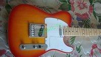cherry sunburst telecaster electric guitar chrome hardwares maple neck strings throught body free shipping
