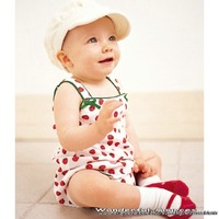 new 2014 Summer Gallus Baby body suits ,Strawberry infant jumpsuit , printed cute baby clothing ,lovely sleeveless newborn wear
