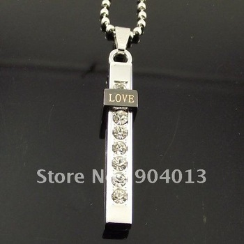 10 pcs Stainless Steel Love Letter Necklace Pendant Bible Cross Long Necklace Free Shipping
