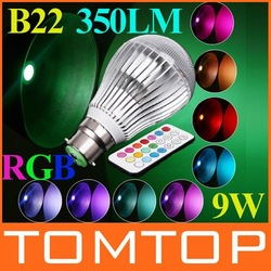 350LM RGB led lighting Colorful 9W B22 /E27/GU10 LED Bulb Lamp with Remote Control Free shipping(China (Mainland))