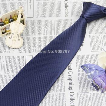 Brand New Mens' Fashion Necktie Wedding Groom Party Necktie Handmade Navy Blue Striped Ties Wholesale Polyester D.berite
