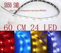 50pcs/lot super bright 5050 SMD 60CM 24 LED flexible led strip MC13
