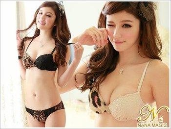 2012 Women Japanese Asymmetric Leopard Design Sexy Princess Bra Push Up Set,B/C Cup 2087