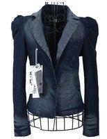 Womens Gorgeous Thin Blue Washed Short Jeans Coat Long Sleeve Denim Cardigan M,L,XL Free Shipping mw9113