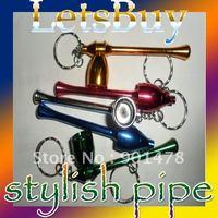 *Free Shipping:: Magic Aluminum Tobacco Smoking Pipe Keychains Metal Pipes 50 Pcs /  Lot