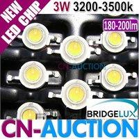 FREE SHIPPING! Bridgelux 3W Warm White LED Chip, High Power LED, 45mil,180-200lm, 3200-3500k 50pcs/lot (CN-BLC20) [Cn-Auction]