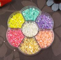 Free shipping! Half Pearl BeadS Flat Back 2100PCS 4mm Scrapbook for Craft FlatBack Colors