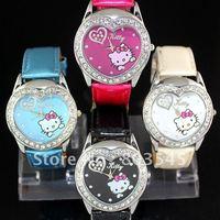 30PCS/LOT EMS  Free Shipping New Hello Kitty watch for women's watch Wristwatch Fashion watch 5 colors kid's watch