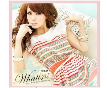 New 2012 Dress Colorful Stripes Belt Women Mini Fashion Summer Chiffon Dress With Belt +