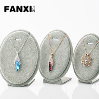 Free Shipping 3 Round  Egg Shape Silver Gray Pretty Velvet Necklace Display Stand Pandent Holder Set