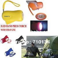 Free Shipping 3LED hand press flashlight , hand manual dynamo torch, can print any LOGO on it.
