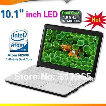 10 inch laptop Intel N2600 1.6Ghz Dual core CPU Led Screen Netbook