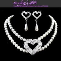 FREE SHIPPING simulated-pearl & rhinestone bridal jewelry  errings necklace wedding jewelry set