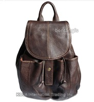 FREE SHIP-Wholesale&Retail Fashion Women&Girl's Brown Genuine Leather Real Drawstring Bag Backpack Rucksack  School Bag Bookbag